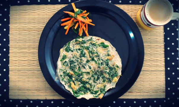 Spinach baby corn egg whites served with sauteed carrot julienne!